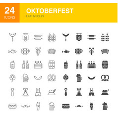 oktoberfest line web glyph icons vector image