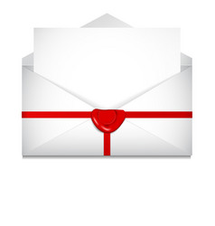 open envelope sealing wax st valentines day vector image