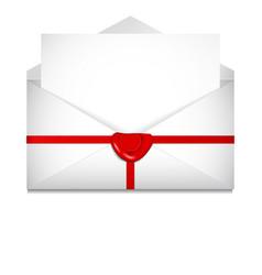 Open envelope sealing wax st valentines day vector