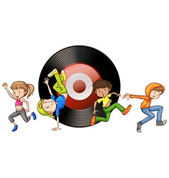 People dancing and disk in background vector
