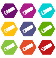plastic pipe icons set 9 vector image