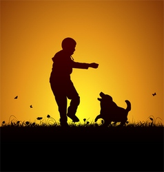Playing kid and dog vector