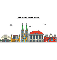 poland wroclaw city skyline architecture vector image