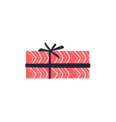 Present box wrapped with pink decorative paper and vector