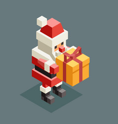 presenting gift santa claus isometric grandfather vector image