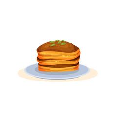 pumpkin pancakes organic healthy autumn food vector image