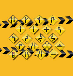 raffic sign on yellow background vector image
