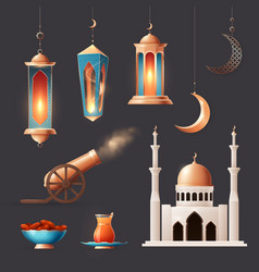 Ramadan realistic icons collection vector