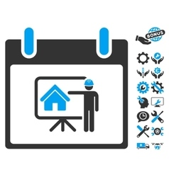 Realty developer calendar day icon with vector