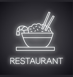 Rice with shrimps neon light icon vector