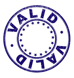 Scratched textured valid round stamp seal vector