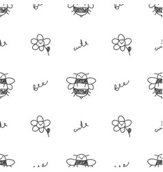 Seamless pattern of bees vector