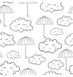Seamless pattern with cute sleeping clouds vector