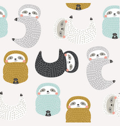 Seamless pattern with cute sloths creative good vector