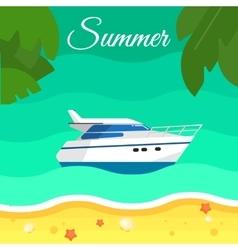 Seascape with Motor Speedboat in Water vector