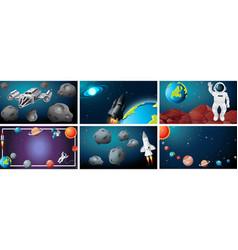 Set od space scene vector