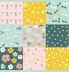 Set of floral pattern spring flowers vector