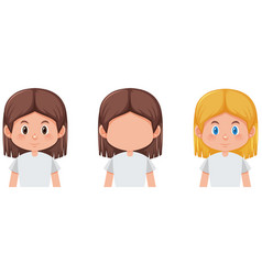 set of girl with different hair color vector image
