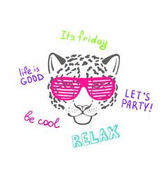 Sketch head leopard in pink club glasses vector