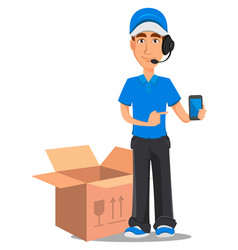 smiling delivery man in blue uniform vector image
