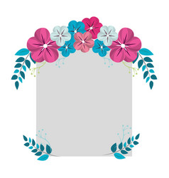 Square border with flowers decoration vector