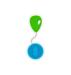 Stylish sticker on paper balloon and coins vector