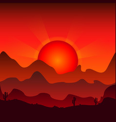 Sunset against the background of mountains vector