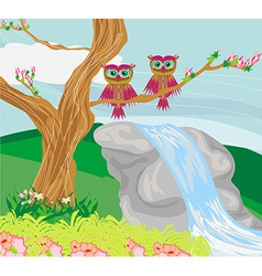 Sweet owls in spring scenery vector