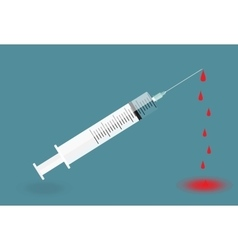 Syringe with needle on blue background - shot vector image
