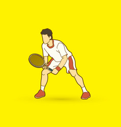 tennis player action man play tennis vector image