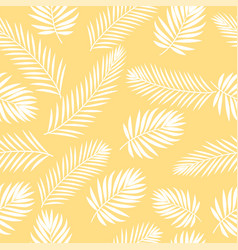 Tropical white palm tree leaves seamless pattern vector