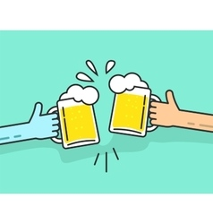 Two abstract hands holding beer glasses with foam vector
