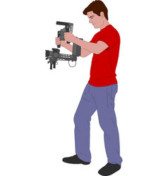 Videographer with handheld steadycam vector