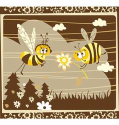 Vintage bees vector