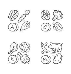 Vitamins linear icons set a c b1 k vector