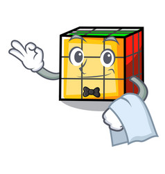 Waiter rubik cube mascot cartoon vector