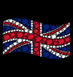 Waving british flag pattern of olive items vector