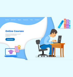 Website with online courses landing page template vector
