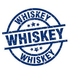Whiskey blue round grunge stamp vector