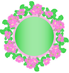Wreath of pink peonies and green leaves in pastel vector