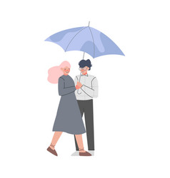 Young male and female couple with umbrella vector