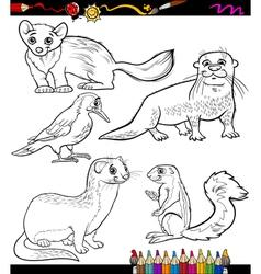 animals set cartoon coloring book vector image