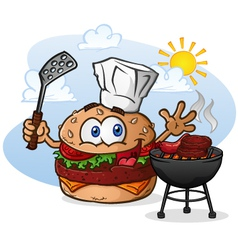 Burger Chef Grilling Cartoon Character vector image