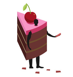 cake costume man mascot promoter male in suit vector image
