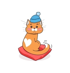 Cat in Hat Isolated Design Flat vector image vector image