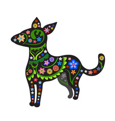 silhouette of dog with ethnic pattern vector image vector image