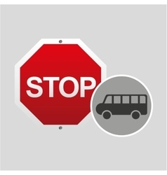 van stop road sign design vector image