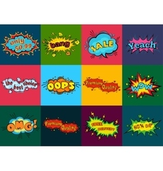 Comic sound effects in pop art style sound vector