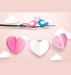 cute heart shape mobile hanging with branches vector image