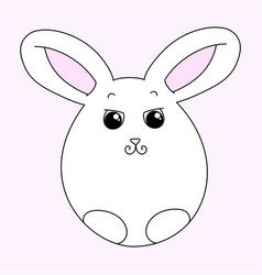 cute white easter bunny vector image vector image